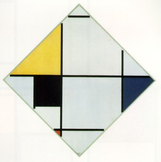 Lozenge Composition with Yellow, Black, Blue, Red, and Gray